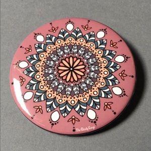 "Floral Mandala Button 225"" Metal Kaleidoscope Pin"